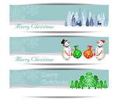 Merry Christmas banners set design, vector illustration — Vettoriale Stock
