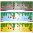 Merry Christmas banners set design, vector illustration — Stock Vector #57703665