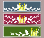 Merry Christmas banners set design, vector illustration — Stock Vector