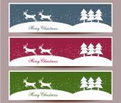 Merry Christmas banners set design, vector illustration — Stock Vector