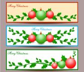 Merry Christmas banners set design, vector illustration — Vector de stock