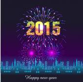 Happy New Year 2015 with fireworks background — Stockvector