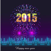 Happy New Year 2015 with fireworks background — ストックベクタ