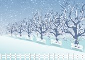 Holiday winter landscape background with winter tree — Stockvektor