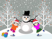 Merry christmas with happy kids — Stock Vector