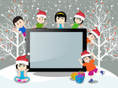 Merry christmas with happy kids and tablet — Stock Vector