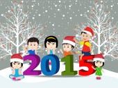 Merry christmas and Happy new year 2015 with happy children — Vector de stock