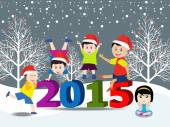 Merry christmas and Happy new year 2015 with happy children — Stock Vector