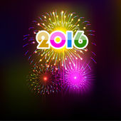 Happy New Year 2016 with fireworks background — Vector de stock
