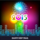 Happy New Year 2015 with fireworks background — Stock Vector