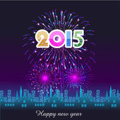 Happy New Year 2015 with fireworks background — Vector de stock