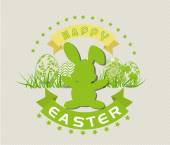 Easter card with eggs and rabbits — Vecteur