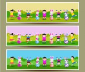 Set of three Easter banners — Stock Vector