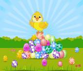 Happy Easter card with eggs and chick — Stock Vector
