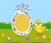 Gelukkig paaskaart met eieren en chick — Stockvector