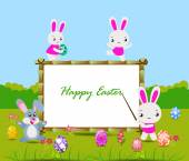 Happy Easter card with eggs and rabbits nearby wood board — Stock Vector