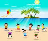 Happy kids having fun on the beach — Stock Vector