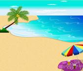 Praia tropical com palmeiras ilustração em vetor — Vetor de Stock