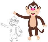 Cheerful monkey. Cartoon — Wektor stockowy