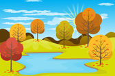 Autumn Landscape background Vector illustration — Wektor stockowy