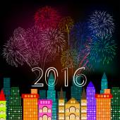 New year fireworks above the city — Stock Vector