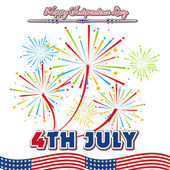 Fourth of July with firework Background — Stock Vector