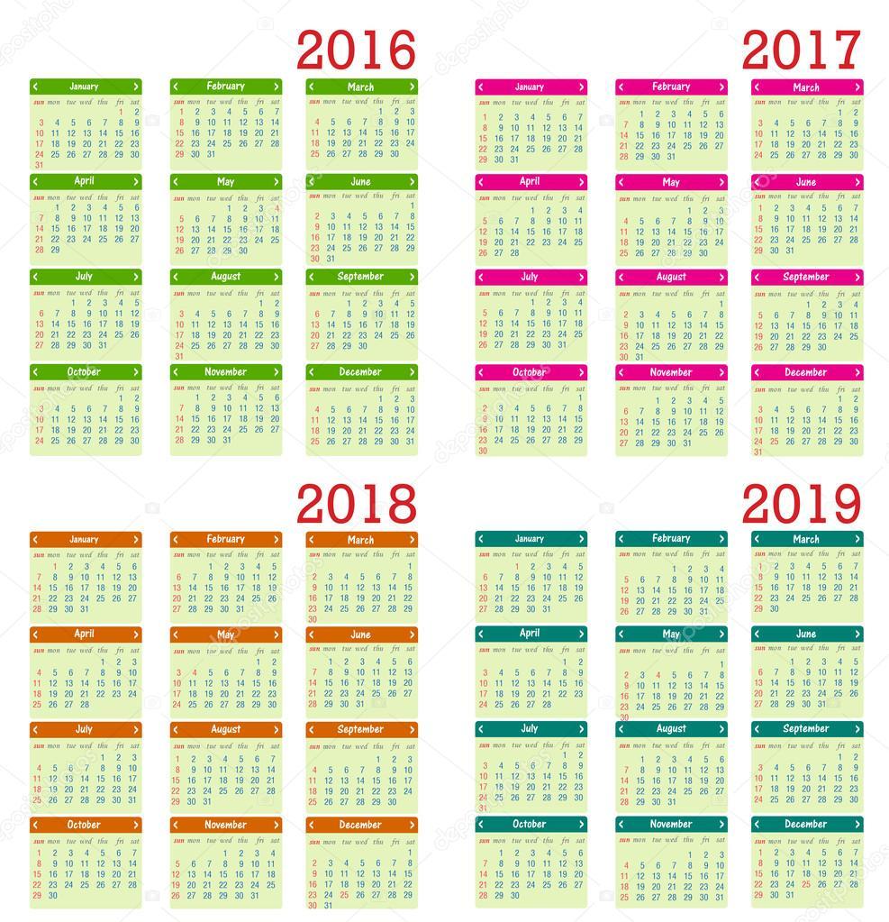 日历2016年新年快乐矢量图