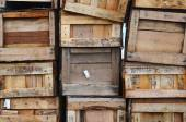 Old wooden boxes stacked vertically — Stock Photo