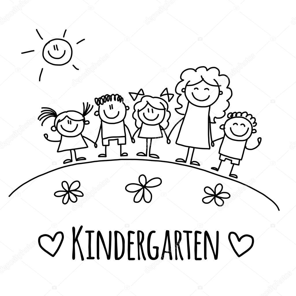 Bild mit kindergarten oder schule kinder stockvektor for Carpetas para jardin de infantes