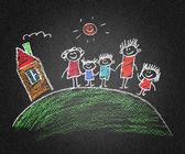 Crianças e pais felizes — Fotografia Stock