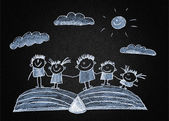 Happy kids with book — Stockfoto