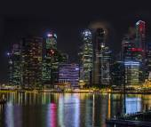 Singapore city skyline at night. — Stock Photo