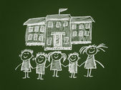 School and happy children — Stock Photo