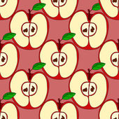 Vector seamless pattern with red apples — Stock Vector