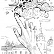 Female hand drawing clouds on the sky — Stock Photo #53819151