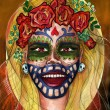 Abstract portrait of a girl inspired by Dia de Muertos holiday — Stock Photo #75831003