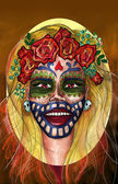 Abstract portrait of a girl inspired by Dia de Muertos holiday — Stock Photo