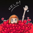 Little redhead girl drowning in a sea of hearts — Stock Photo #76515639