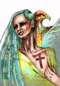 Женщина, показаны крест шрам на груди — Стоковое фото