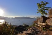 The bench on cliff in rays of the evening sun with view on the bay — Stock Photo