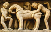 Erotic Carvings at Khajuraho Temple, Madhya Pradesh, India — Stock Photo