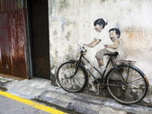 Street Art Mural in Georgetown, Penang, Malaysia — Stock Photo