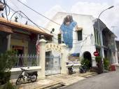 Famous Street Art Mural in Georgetown, Penang, Malaysia — Stok fotoğraf