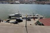 Maritime police pier and boat — Fotografia Stock