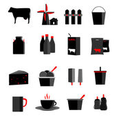 Icons set milk, dairy products, production vector illustration — Stock Vector