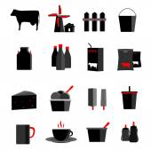 Icons set milk, dairy products, production vector illustration — Stok Vektör