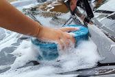 Blue sponge  the car for washing — Stock Photo