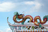 Dragons in the temple with sky — Stock Photo