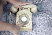 The boy playing vintage telephone  — ストック写真