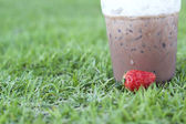 Ice chocolate on green grass — Stock Photo